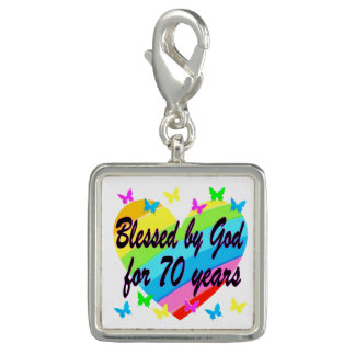 CHRISTIAN 70TH BIRTHDAY HEART DESIGN CHARMS