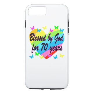 CHRISTIAN 70TH BIRTHDAY HEART DESIGN iPhone 8 PLUS/7 PLUS CASE