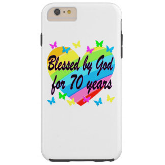 CHRISTIAN 70TH BIRTHDAY HEART DESIGN TOUGH iPhone 6 PLUS CASE