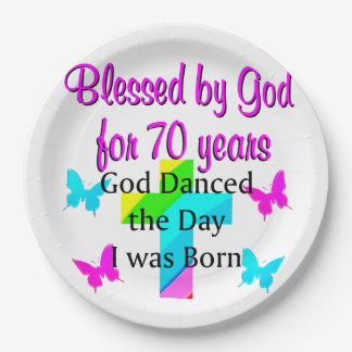 CHRISTIAN 70TH BIRTHDAY 9 INCH PAPER PLATE
