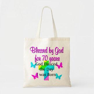 CHRISTIAN 70TH BIRTHDAY TOTE BAG