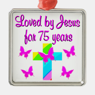 CHRISTIAN 75TH PERSONALIZED BIRTHDAY DESIGN METAL ORNAMENT