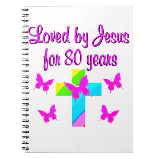 CHRISTIAN 80TH BIRTHDAY CROSS DESIGN NOTEBOOK