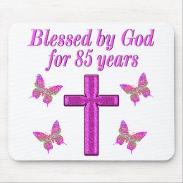 CHRISTIAN 85TH BIRTHDAY PINK CROSS DESIGN MOUSE PAD