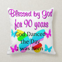 CHRISTIAN 90 YEAR OLD THROW PILLOW
