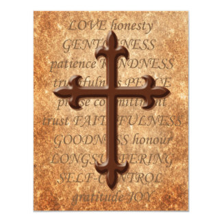 Christian Aged Iron Cross RSVP Card