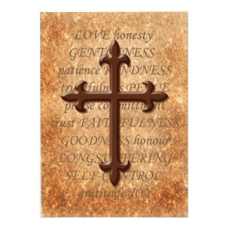 Christian Aged Iron Cross Wedding Invitation