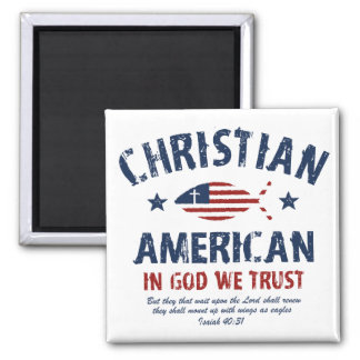 Christian American 2 Inch Square Magnet