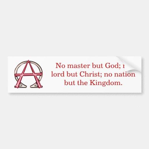 Christian Anarchy Car Bumper Sticker