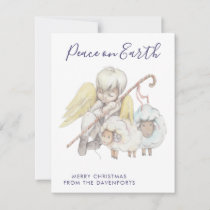Christian Angel Shepherd with Sheep Peace on Earth Holiday Card