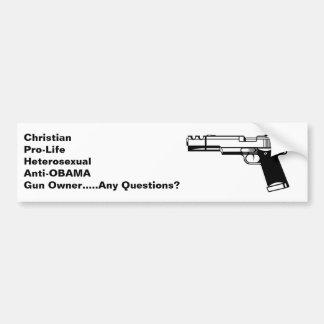 Christian Anti Obama Gun Rights Bumper Sticker
