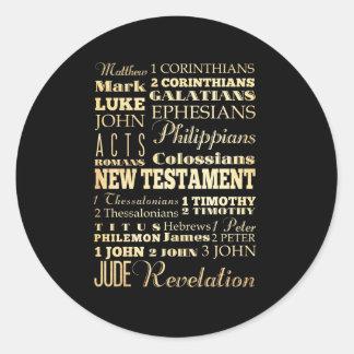 Christian Art - Books of the New Testament. Round Sticker