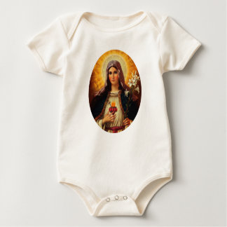Christian Art of Sacred Heart of Jesus and Mary Bodysuit