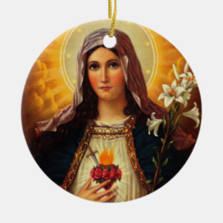 Christian Art of Sacred Heart of Jesus and Mary Ceramic Ornament