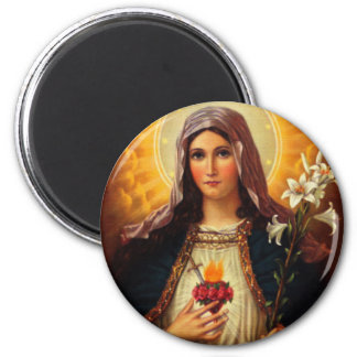Christian Art of Sacred Heart of Jesus and Mary 2 Inch Round Magnet
