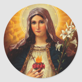 Christian Art of Sacred Heart of Jesus and Mary Round Stickers