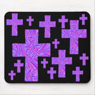 Christian Art Purple Cross Collage Design MousePad