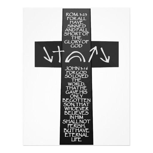 Christian Atonement Cross - Romans 3:23 John 3:16 Letterhead Design