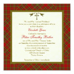 Christian Autumn Plaid Square Wedding Invitation