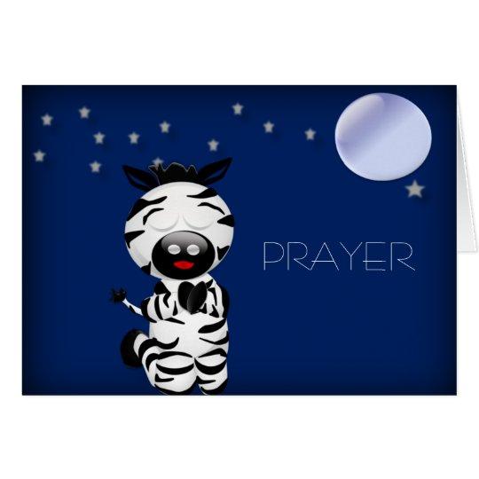Christian Baby Zebra Praying at Night Card PRAYER