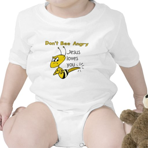 Christian bee design, Don't bee angry Baby Bodysuits
