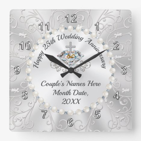 CHRISTIAN, Best Gift for 25th Wedding Anniversary Square Wall Clock