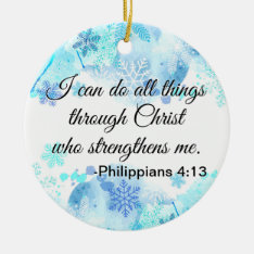Christian Bible I Can Do All Things Quote Blue Ceramic Ornament at Zazzle