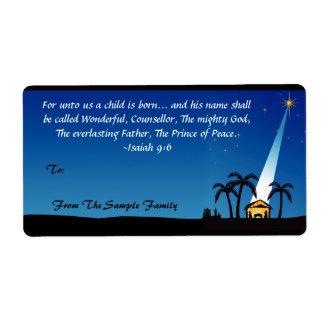 Christian Bible Verse Christmas Custom Gift Tag Custom Shipping Labels