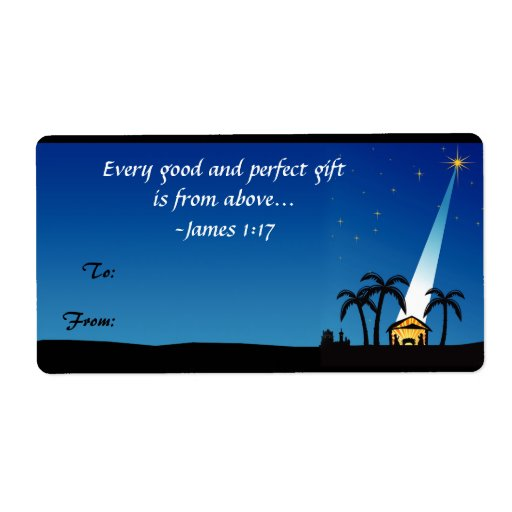Christian Bible Verse Christmas Gift Tag Label Shipping Labels