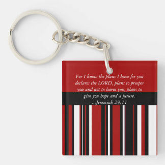 Christian Bible Verse Jeremiah 29:11 Scripture Single-Sided Square Acrylic Keychain
