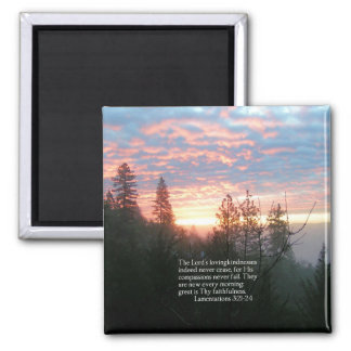 Christian Bible Verse Lake Landscape Creationarts 2 Inch Square Magnet