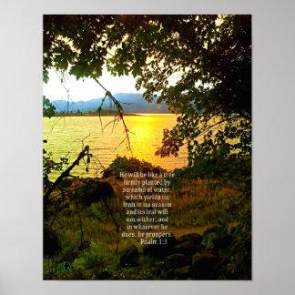Christian Bible Verse Lake Landscape Creationarts Poster