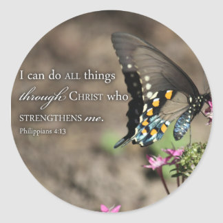 Christian Bible Verse Photo Inspirational Picture Classic Round Sticker