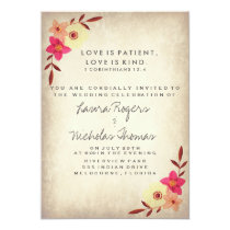 Christian Bible Verse Rustic Country Floral Invitation