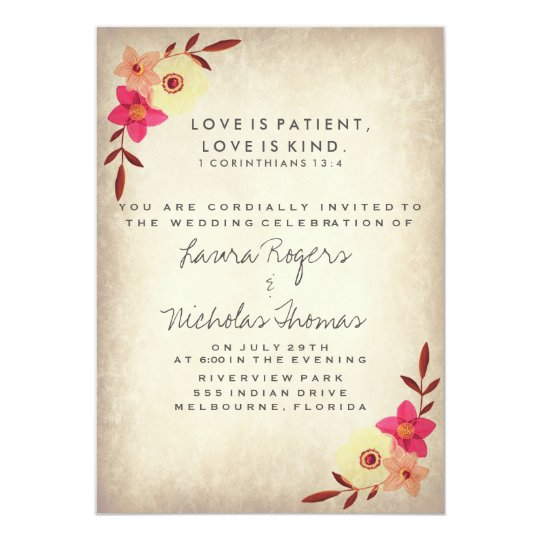 Christian Bible Verse Rustic Country Floral Invitation Zazzle Com
