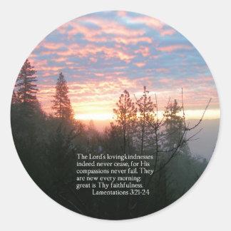 Christian Bible Verse Sunrise Landscape Classic Round Sticker