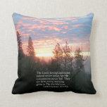 Christian Bible Verse Sunrise Landscape Throw Pillow