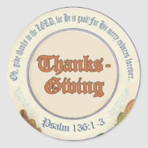 Christian Bible Verse Thanksgiving Classic Round Sticker