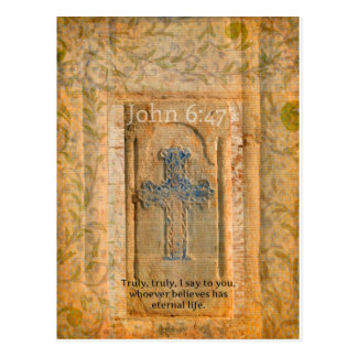 Christian Biblical Quote Renaissance Cross Postcard