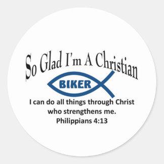 Christian Biker Round Stickers