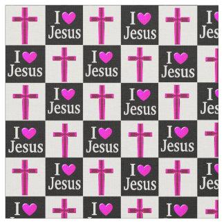 CHRISTIAN BLACK AND PINK CROSS I LOVE JESUS FABRIC