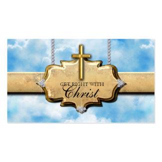 Christian Business Card Cross Gold Clouds Heaven