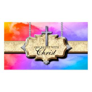 Christian Business Card Cross Rainbow Clouds