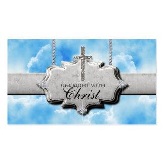 Christian Business Card Cross Silver Clouds Heaven