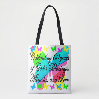 CHRISTIAN BUTTERFLY 60TH BIRTHDAY TOTE BAG