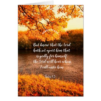 Christian card with scriptures and Fall at river