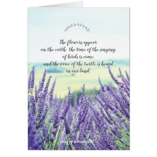 Christian card with scriptures and lavender