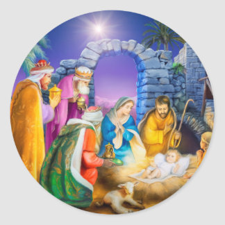 Christian Christmas card Classic Round Sticker