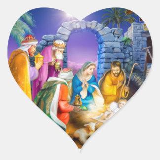 Christian Christmas card Heart Sticker