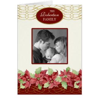 Christian Christmas Card Swirls 'n Poinsettias